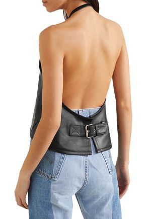 SANDY LIANG Congee buckled backless leather top