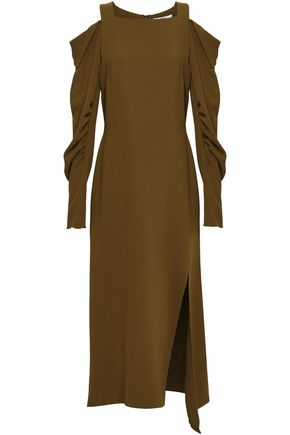TIBI Cold-shoulder stretch-crepe midi dress