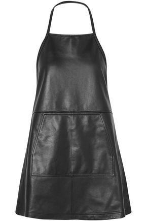 SANDY LIANG Apron backless leather mini dress