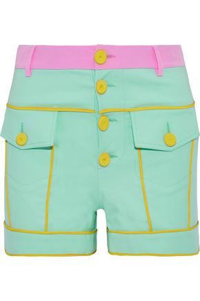MOSCHINO Button-detailed color-block stretch-cotton shorts