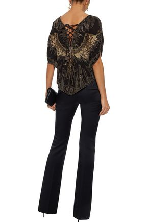 HAUTE HIPPIE Lace-up embellished silk top