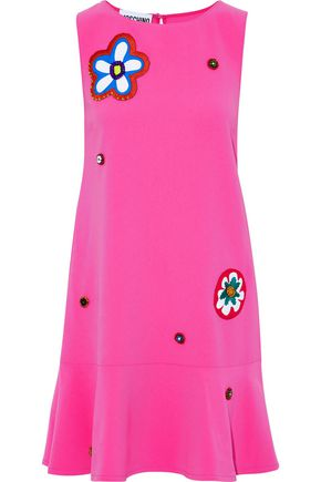 MOSCHINO Appliquéd crepe mini dress