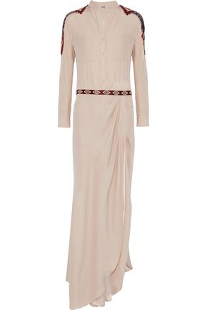 HAUTE HIPPIE Embellished silk-seersucker maxi shirt dress