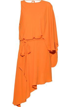 HALSTON HERITAGE Asymmetric draped crepe de chine mini dress