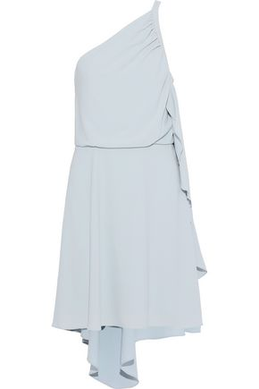 HALSTON HERITAGE One-shoulder draped crepe mini dress