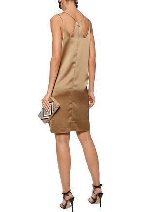 HALSTON HERITAGE Satin-crepe mini slip dress