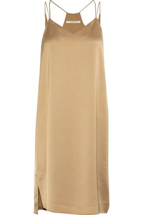 HALSTON HERITAGE Satin-crepe mini slip dress