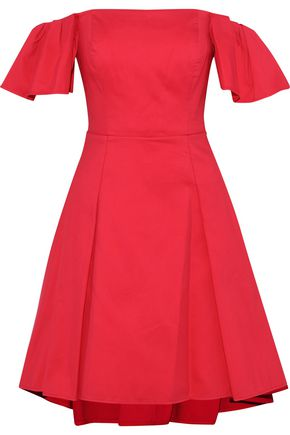 HALSTON HERITAGE Off-the-shoulder cotton-blend dress
