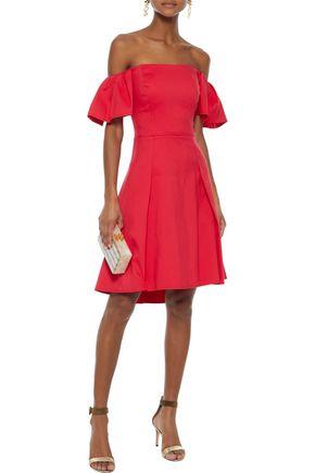 HALSTON HERITAGE Off-the-shoulder cotton-blend dress
