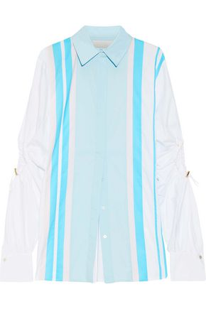 PETER PILOTTO Cutout striped cotton-blend poplin shirt