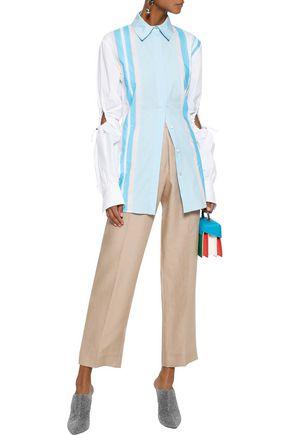 PETER PILOTTO Cutout striped cotton-blend poplin shirt