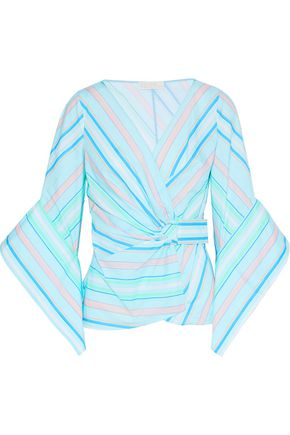 PETER PILOTTO Striped cotton-poplin wrap top