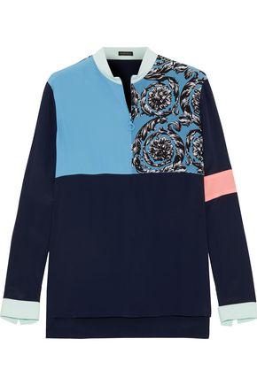 VERSACE Printed color-block silk crepe de chine blouse