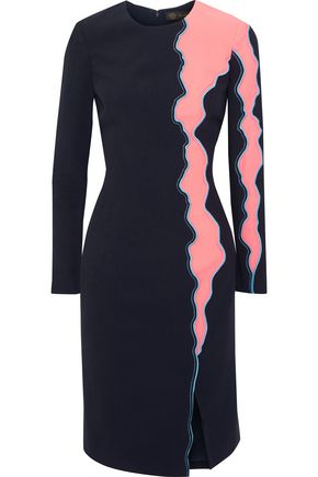 VERSACE Embroidered two-tone midi dress