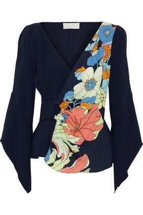 ANCIENT GREEK SANDALS x PETER PILOTTO Floral-print crepe wrap blouse