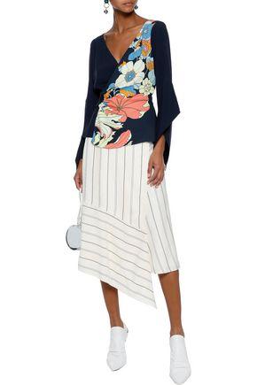 PETER PILOTTO Floral-print crepe wrap blouse