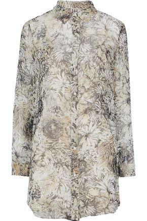 HAUTE HIPPIE Printed silk-chiffon mini shirt dress