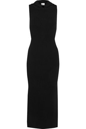 MILLY Ribbed-knit hooded midi dress