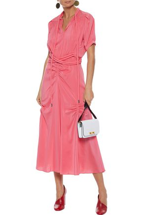 CARVEN Belted ruched silk crepe de chine midi dress