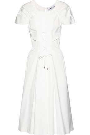 CARVEN Lace-up shirred cotton-poplin midi dress