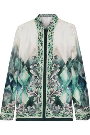 VERSACE COLLECTION Printed silk-faille shirt