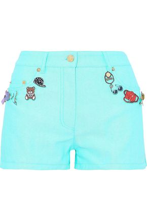 MOSCHINO Appliquéd denim shorts