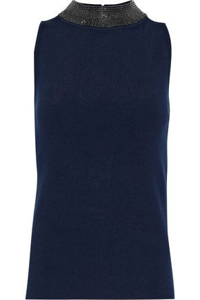 MILLY Crystal-embellished stretch-knit top