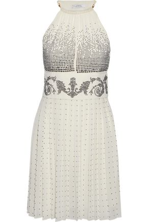 VERSACE COLLECTION Crystal-embellished plissé-georgette halterneck mini dress