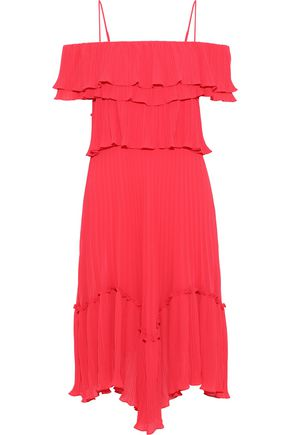 HALSTON HERITAGE Cold-shoulder ruffled plissé-chiffon dress