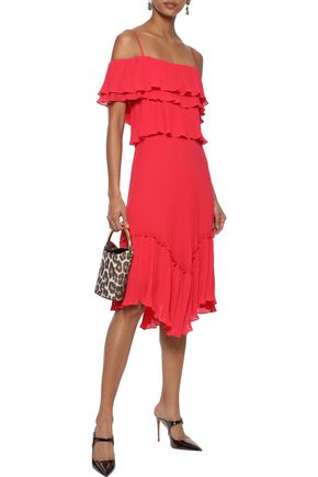 05fe2d34f224 HALSTON HERITAGE Cold-shoulder ruffled plissé-chiffon dress