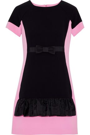 MOSCHINO Bow-embellished ruffled two-tone crepe mini dress