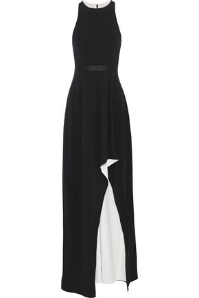 HALSTON HERITAGE Asymmetric satin-trimmed stretch-crepe gown