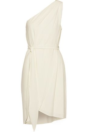 HALSTON HERITAGE One-shoulder bead-embellished crepe mini dress