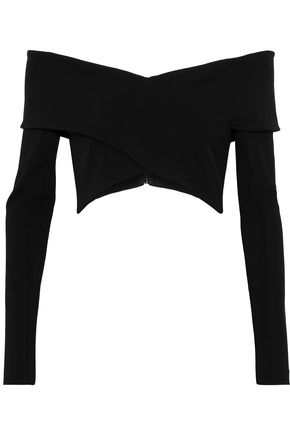 CUSHNIE ET OCHS Issa off-the-shoulder cropped stretch-crepe top