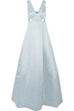 HALSTON HERITAGE Cutout duchesse-satin gown