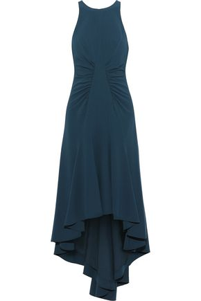 HALSTON HERITAGE Asymmetric stretch-crepe midi dress
