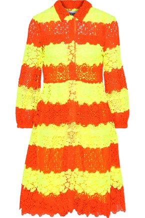 MOSCHINO Neon striped crochet and guipure lace dress