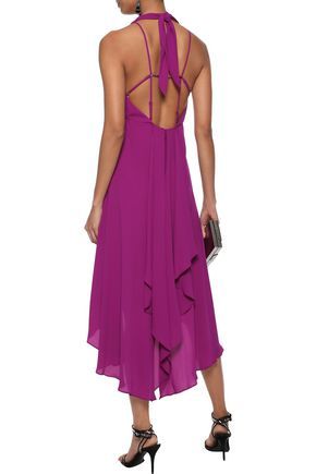 HALSTON HERITAGE Asymmetric crepe de chine halterneck dress