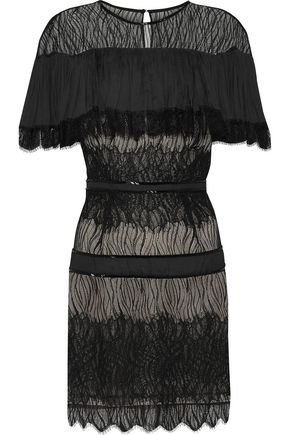 HALSTON HERITAGE Crepe de chine-paneled bead-embellished lace mini dress