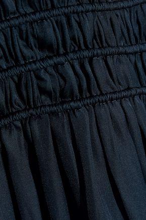 HALSTON HERITAGE Off-the-shoulder shirred charmeuse maxi dress