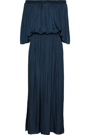 HALSTON HERITAGE Off-the-shoulder shirred charmeuse maxi dress