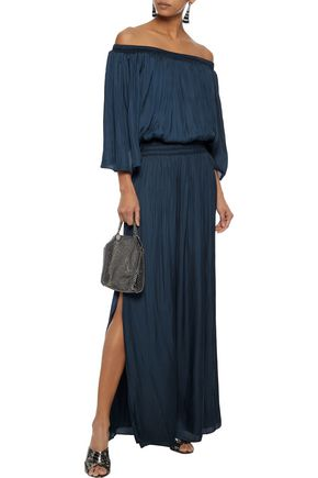 1409a6111b9a0 HALSTON HERITAGE Off-the-shoulder shirred charmeuse maxi dress