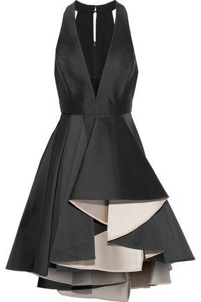 HALSTON HERITAGE Tulle-trimmed pleated duchesse-satin mini dress