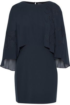 HALSTON HERITAGE Cape-effect embroidered chiffon-paneled crepe mini dress