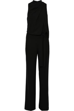 HALSTON HERITAGE Knotted draped stretch-crepe jumpsuit