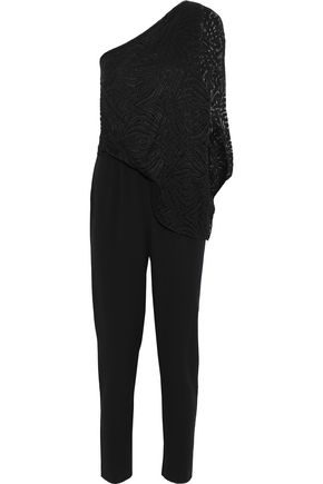 HALSTON HERITAGE One-shoulder layered lace and crepe jumpsuit
