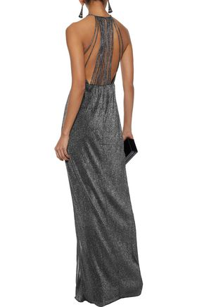 HALSTON HERITAGE Cutout metallic ribbed-knit gown