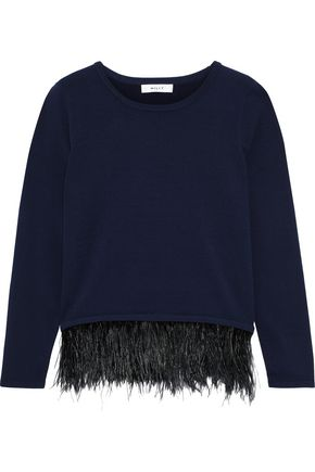 MILLY Feather-trimmed knitted sweater