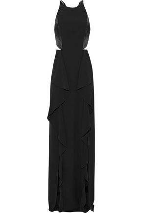 HALSTON HERITAGE Cutout satin-paneled crepe gown