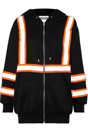 MOSCHINO Neon-trimmed jersey hoodie